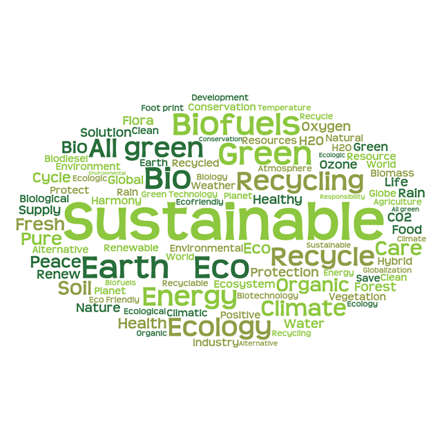 Cloud of words related to sustainable